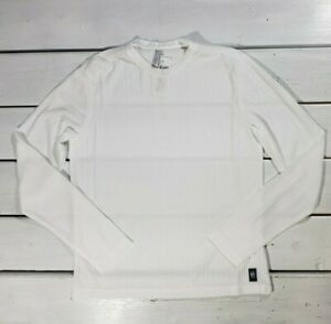 New Conte of Florence Men's T-shirt White Long Sleeve Striped See Through