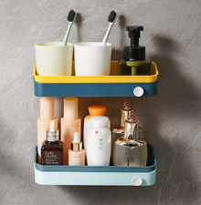 Wall Plastic Shelf Nail Free Bathroom Kitchen Storage Shower Rack Organizer Tool