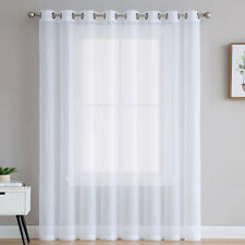 1PC Simple White Voile Curtains Net Curtain Sheer Panel Window Drops Eyelet Top
