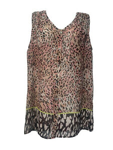 CAbi #108 Pink Brown Beige Animal Print Sleeveless Sheer Top Size M
