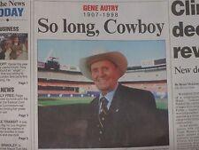 OCT. 1998 ~ GENE AUTRY 1907 - 1998 ~ SO LONG COWBOY / DIES AT 91/ ANAHEIM ANGELS
