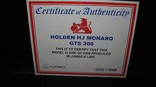 BIANTE 1/18 COA CERTIFICATE OF AUTHENTICITY HOLDEN HJ MONARO GTS JAMAICA LIME