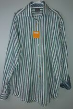 New Thomas Dean TD Men's XL Button Down Multi-Color Flip Cuffs Shirt Striped