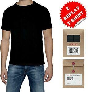 REPLAY 2 pack t-shirt da uomo taglia XXL nero maglietta basic puro cotone in box