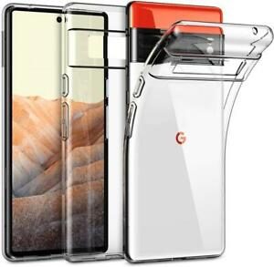 For Google Pixel 6 Pro Case Clear Silicone Gel Phone Cover + 1 X Tempered Glass