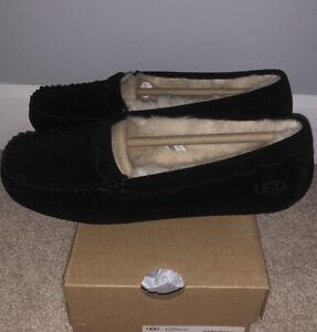 NWT UGG Size 8 Scalloped Moccasin Slipper Loafer BLK Black