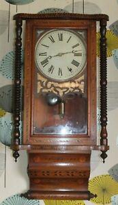 19th Century American Striking Wall clock, inlaid Wood Bands, AF