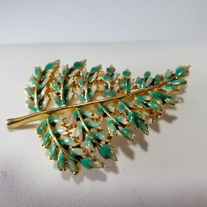 Christmas Holiday  Brooch Pin Tree Branch Leaves Gold Tone Enamel Unique