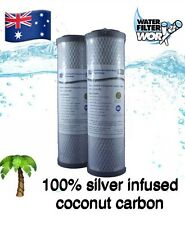 "SILVER INFUSED WATER FILTERS 0.5 MICRON 10"" x 2.5"" 100% COCONUT CARBON ✅✅✅✅✅"