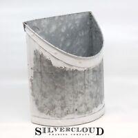 Large Galvanized Wall Pocket - Hanging File Planter - Pre-Hung Vase