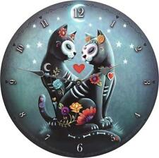 Sugar skull day of the Dead couple de chats amoureux Nuit étoilée Horloge Murale 34 cm