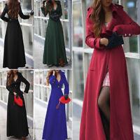 Women Full Length Winderbreaker Wool Blend Jacket Slim Long Trench Coat Outwear