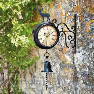 Outdoor Metal Garden Roman Numeral Wall Clock Weather Station with Stag & Bell