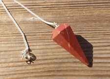 NATURAL RED JASPER STONE GEMSTONE FACETED PENDULUM