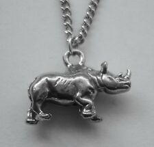 Chain Necklace #448 Pewter RHINOCEROS (20mm x 13mm)