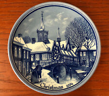 "Christmas 1974 Souvenir 6 1/4"" Wall Hanging Plate Delft Blue Holland"