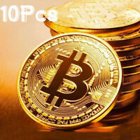 10Pcs Gold Bitcoin Commemorative 2020 New Collectors Gold Plated Bit Coin BU