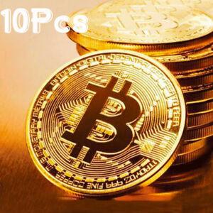 10Pcs Gold Bitcoin Commemorative 2020 New Collectors Gold Plated Bit Coin BU
