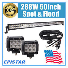 50INCH 288W LED WORK LIGHT BAR S&F COMBO DRIVING OFFROAD UTE 18W CREE FOG LAMP