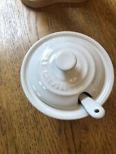 LE CREUSET Stoneware Condiment Pot & Spoon in White. Rare & Boxed