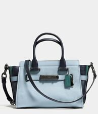 NWT Coach Swagger 27 Colorblock Satchel Pale Blue/ Dark Turquoise/Navy 12120