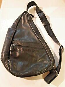 AmeriBag Black Leather Healthy Back Bag Sling Shoulder Bag