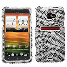For HTC EVO 4G LTE Crystal Diamond BLING Hard Case Snap On Phone Cover Zebra