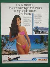 10/1989 PUB VIASA VENEZUELIAN AIRLINES MARGARITA ISLAND CARAIBES BIKINI PLAGE AD
