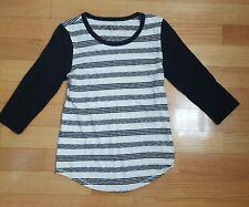 Women's Size XS Black and White Striped J. Crew 3/4 Sleeve Shirt