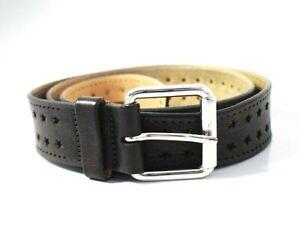 Caroll Paris Women's Leather Belt Grey / Brown Size 32