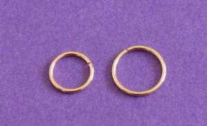 GENUINE 9 CARAT GOLD SEAMLESS RING NOSE EAR LIP HOOP RING  8 OR 6 MM X 0.8 MM