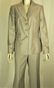 JONES NEW YORK~NWT!!~LIGHT BROWN PINSTRIPED CAREER PANT SUIT-FITTED BLAZER SZ:10