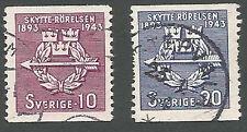 Sweden Scott#s 342-343, Rifle Federation Emblem, Violet & Ultra, Used, 1943
