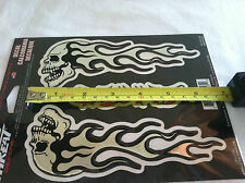 "6"" Flaming Chrome Skull 3-D Domed 3M Body Decal Set Emblem Sticker Lethal/Threat"