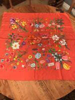 NWT Gucci Scarf 90x90 100% Silk Fo Flora Twill