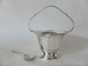 Plate Craft Silver Plated Sugar Basket with Spoon, EPNS Tableware, 1930s Kitchen