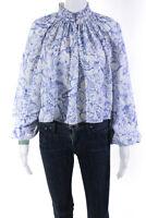 Tibi Womens Isa Toile Cropped Edwardian Top Blue White Size 6 12042615