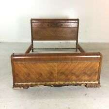 Quality Walnut 1930s Carved Standard Double Bed Arts And Crafts Pretty And Colorful Edwardian (1901-1910) Beds