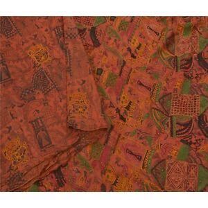 Tcw Vintage Orange Saree 100% Pure Silk Hand Beaded Craft Sari Fabric