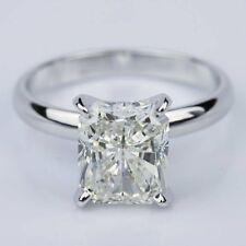 Radiant Moissanite 3.02Ct Near White Engagement Promise Ring 925 Sterling Silver