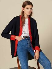 Sandro Navy-Red Two-Tone Cardigan  (1, Oversized, fits 10 - 16)