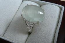 925 STERLING SILVER OVAL PALE GREEN PREHNITE CABOCHON RING SZ N 7