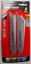 "Black & Decker 75-200 6PC 6"" x 18 TPI 6"" x 6 TPI Reciprocating Saw Blade Set USA"