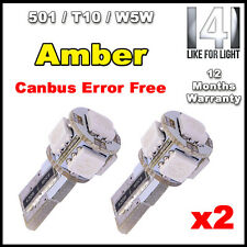 Amber/Yellow/Orange CANBUS ERROR FREE 501/W5W/T10/194 5 SMD LED bulbs (Fits: 501