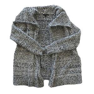 Womens XOXO Black White Zebra Soft Fuzzy Cardigan Sweater Long Cozy Drape Sz XL