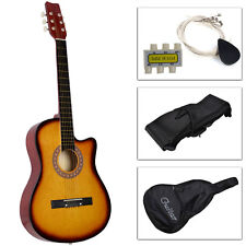 New Beginners Acoustic Guitar With Guitar Case, Strap, Tuner and Pick Yellow