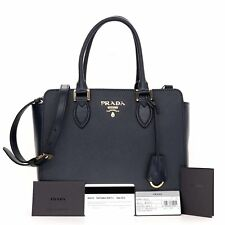 New Prada 1BA118 Navy Blue Saffiano Leather Lux Convertible Purse Handbag Tote