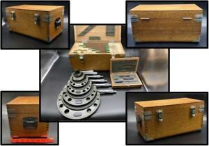 "MITUTOYO Screw Thread Micrometer Set Wood Box .0001"" 0-6"" 103 220A 219A 136 VTG"