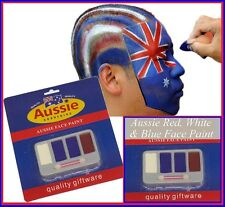 AUSSIE Red White Blue FACE PAINT SET Australia Day Commonwealth Olympic Anzac