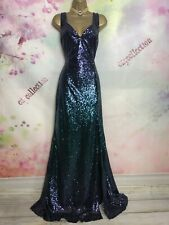 BNWOT MEDINA FULL LENGTH  MAXI GOWN SPARKLY SEQUINS PURPLE/GREEN DRESS SIZE 14